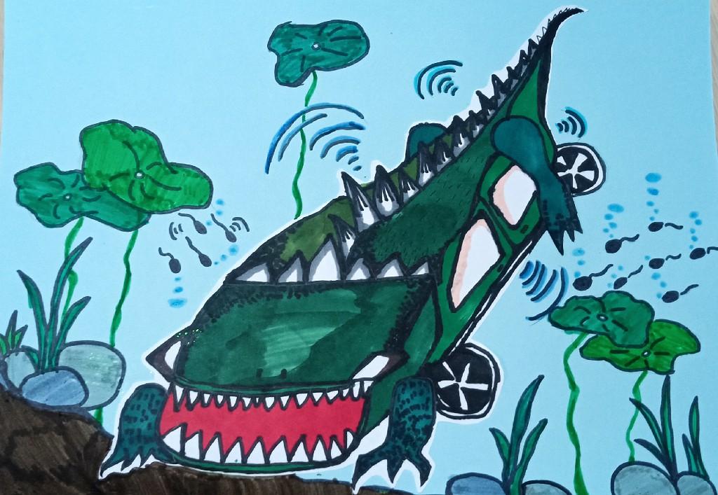 鳄鱼型两栖太阳能车