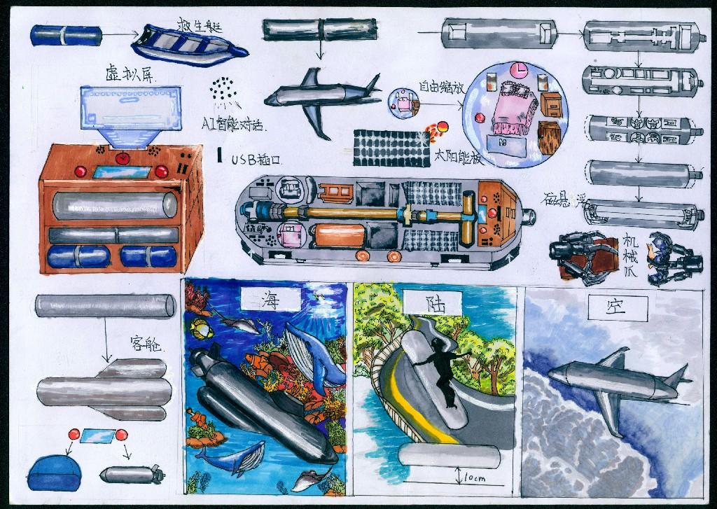 海陆空三用型智能滑板